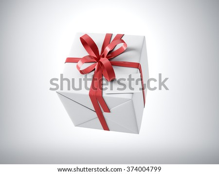White gift box with red ribbon bow and blank business card, isolated on white, horizontal. 3d render - stock photo
