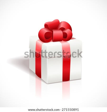 White gift box with red ribbon bow, isolated on white