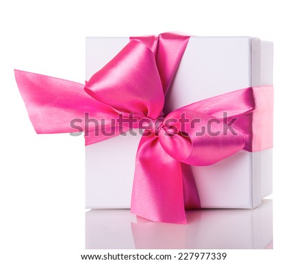 white gift box with red ribbon bow Isolated on white background