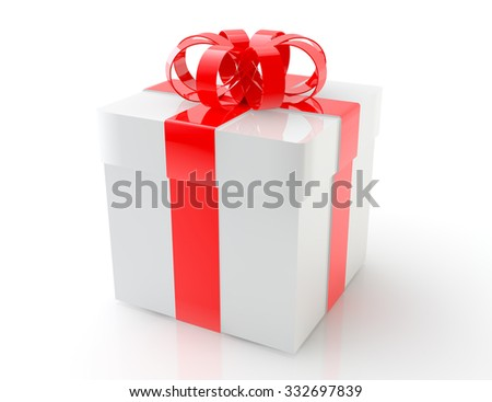 White gift box with red ribbon bow, isolated on white background 3d rendering