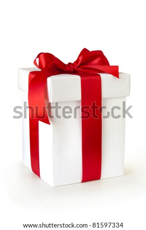white gift box with red ribbon isolated on white - stock photo