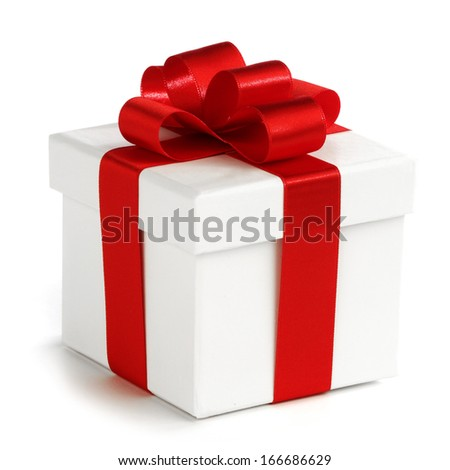 White gift box with red ribbon isolated on white background - stock photo