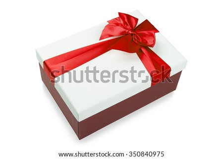 White gift Box with red ribbon Isolated on white background