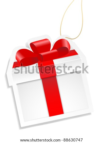 White gift box with red ribbon on white background.