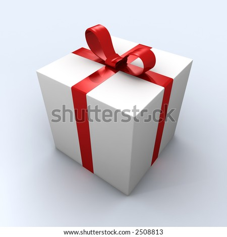 white gift box wrapped by red ribbon - stock photo