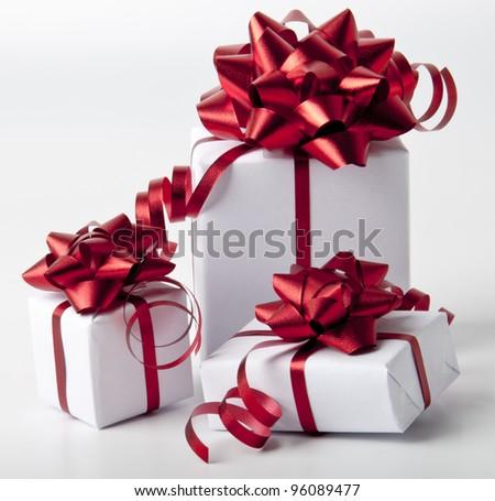 white gift boxes on white background - stock photo