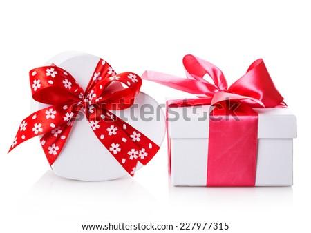 white gift heart box Isolated on white background - stock photo