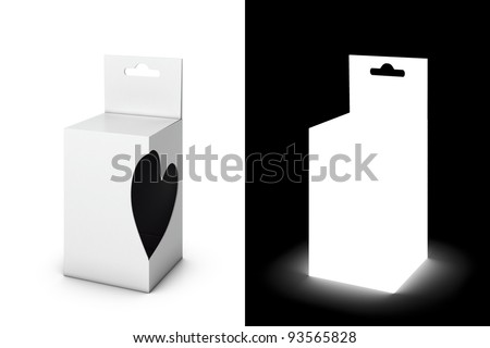 White gift pack with heart-cut (with opacity mask)