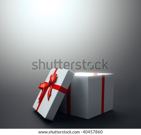White gift with a red ribbon - christmas celebration image