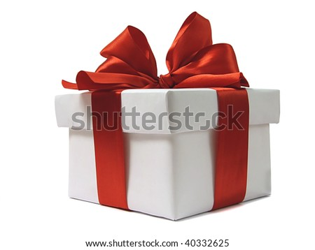 White gift with red bow - stock photo
