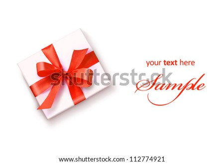 White gift with red ribbon bow isolated on white - stock photo