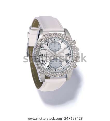 White Glamour Watch For Women - stock photo