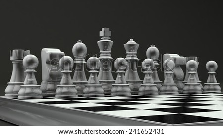 white glass chess set