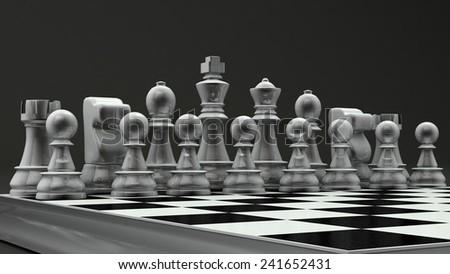 white glass chess set - stock photo