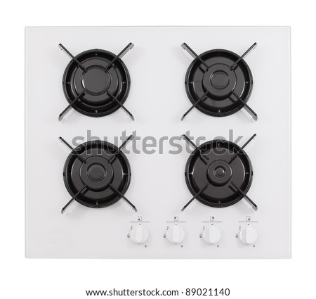 White glass gas hob isolated on white - stock photo