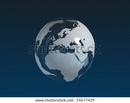 White Glass Globe in space