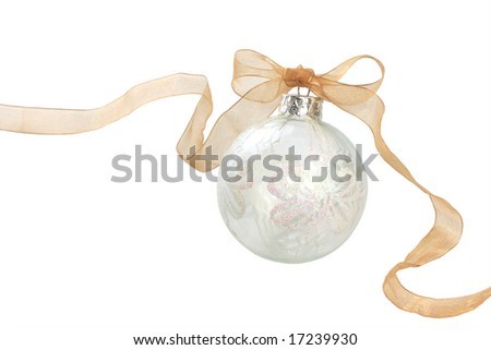 White glass holiday ornament isolated on white