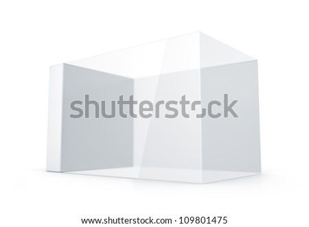 White glass rectangle box. High resolution 3D illustration with clipping paths.