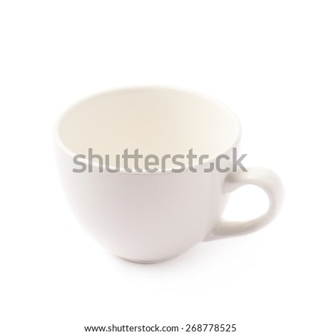 White glazed ceramic coffee or tea cup with a handle, isolated over the white background - stock photo