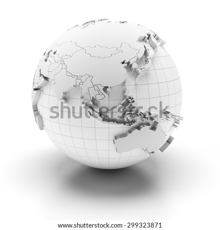 White globe with extruded continents and national borders, Asia and Australia regions, 3d render - stock photo