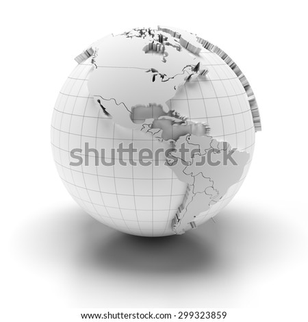 White globe with extruded continents and national borders, north and south america regions, 3d render - stock photo