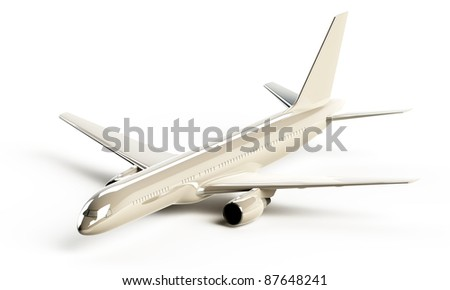 White glossy Boeing 757 aircraft - stock photo