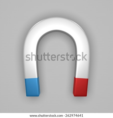 White glossy horseshoe or U shape magnet with blue and red tips on gray background - stock photo