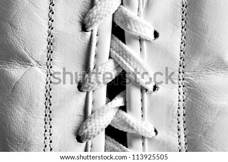 white glove lacing for boxing . photo - stock photo