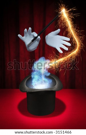 White gloved hands holding a magic wand above a magician's top hat producing sparks and smoke on a red background - stock photo