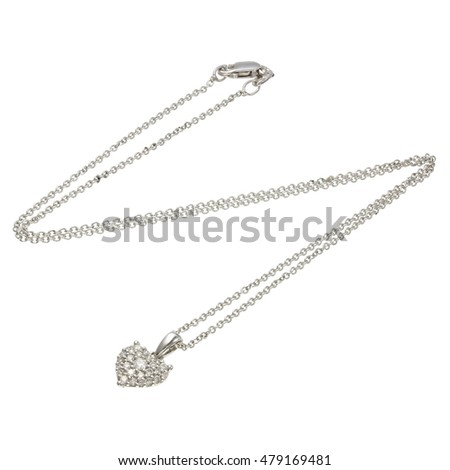White gold chain with pendant in the shape of a heart
