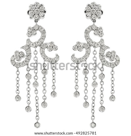 Chandelier earrings stock images royalty free images vectors white gold chandelier earrings aloadofball Gallery