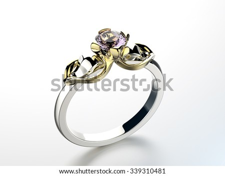 White Gold Ring with Diamond. Jewelry background