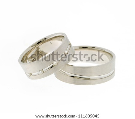 white gold rings on isolated white background