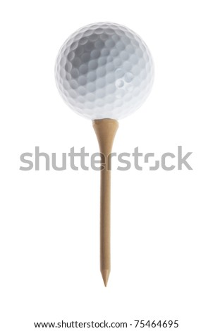 white golf ball and wood tee - stock photo