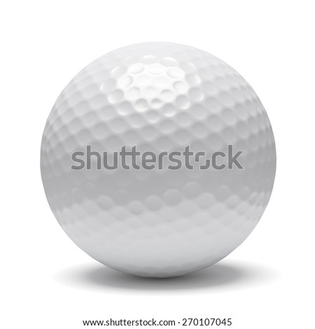 White golf ball isolated on white background with shadow - stock photo