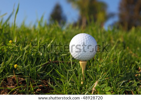 white golf ball on course with blue sky