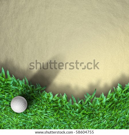 white golf ball on grass with shadow - stock photo