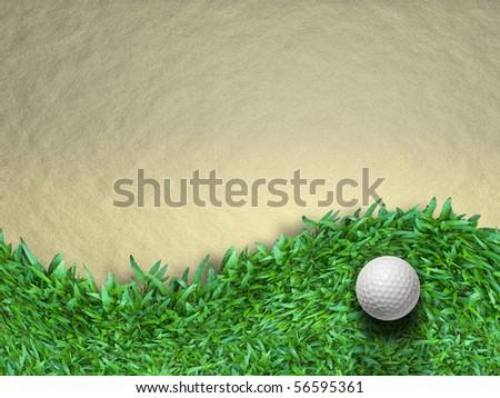 White golf ball on green grass background - stock photo