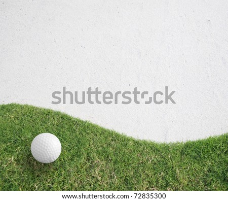 white Golf ball on green grass.Golf sport is Balance of Yin Yang.Paste the text into the space  right hand side