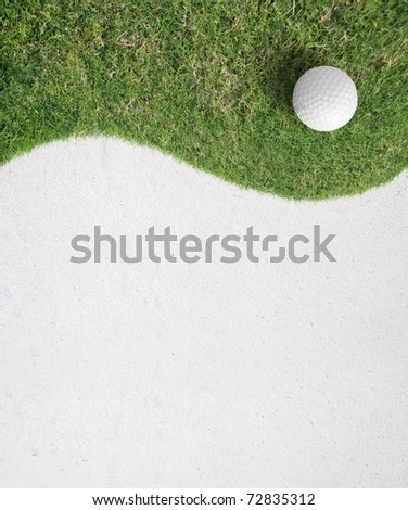 white Golf ball on green grass in golf course .sport background,Golf sport is Balance of Yin Yang.Paste the text into the space  right hand side