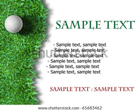 White golf ball on green grass isolated on white background - stock photo
