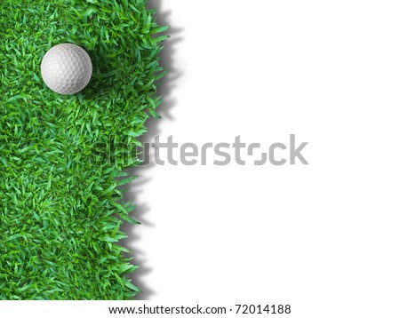 White golf ball on green grass isolated on white with shadow background for web page - stock photo