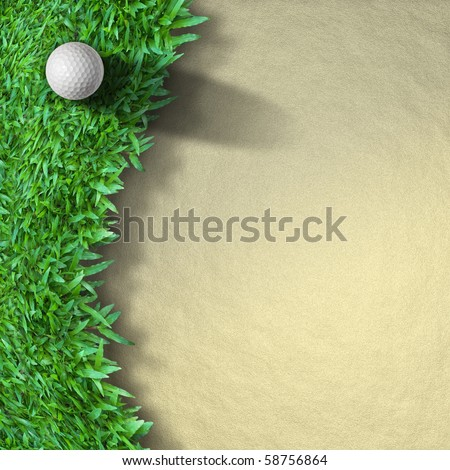 white Golf ball on green grass left side background - stock photo