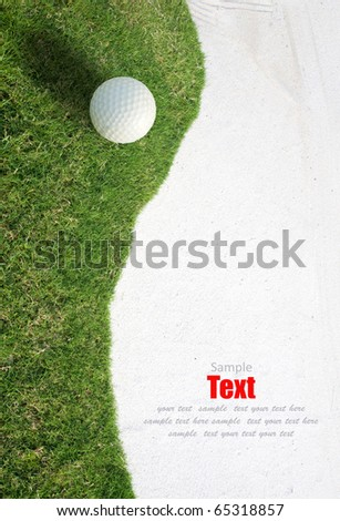 white Golf ball on green grass left side background.Golf sport is Balance of Yin Yang.Paste the text into the space  right hand side