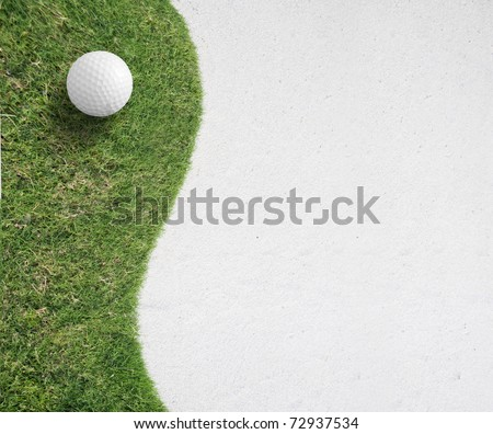 white Golf ball on green grass left side background,Golf sport is Balance of Yin Yang.Paste the text into the space  right hand side.sporter concept
