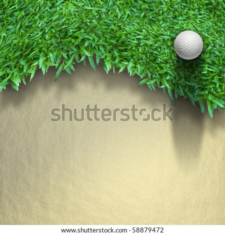 white golf ball on green grass top view - stock photo