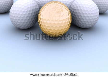 White golf balls with one golden on the blue background.