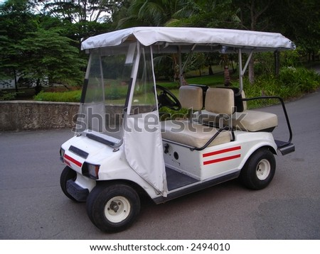 white golf buggy found at a resort