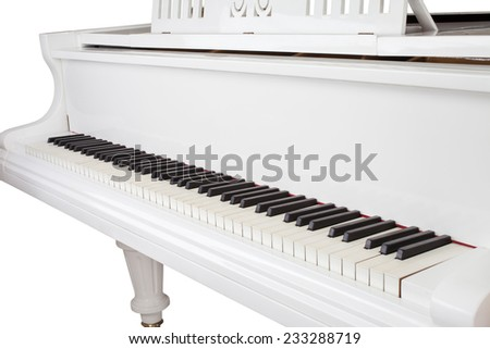 White grand piano isolated on white - stock photo