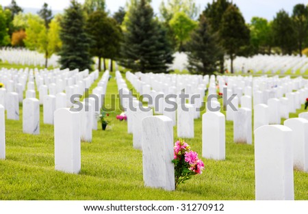 White granite headstones at a USA National Military Cemetery after Memorial Day (shallow focus on headstone with pink flowers).